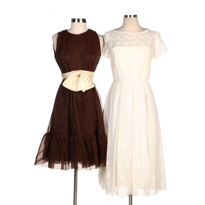 Joan Leslie by Kasper Brown Organza A-Line Dress and Other Embroidered Dress