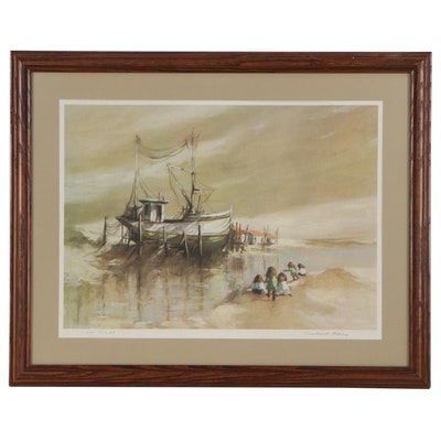 "Robert Fabe Offset Lithograph ""Low Tide,"" Late 20th Century"