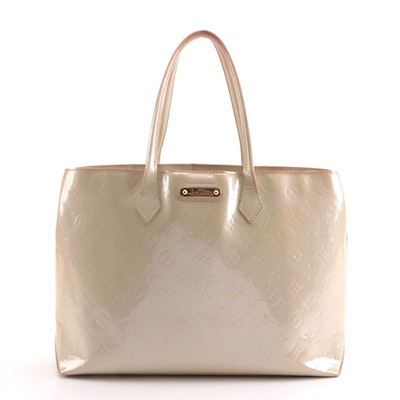 Louis Vuitton Wilshire MM Tote Bag in Perle Monogram Vernis Leather
