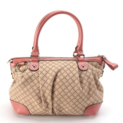 Gucci Sukey Medium Two-Way Tote in Diamante Canvas and Coral Leather