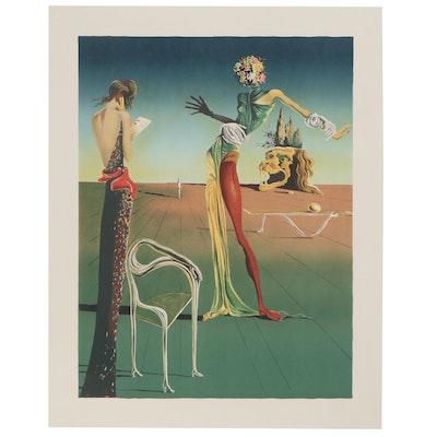 """Lithograph after Salvador Dalí """"Femme à la tête de roses"""""""