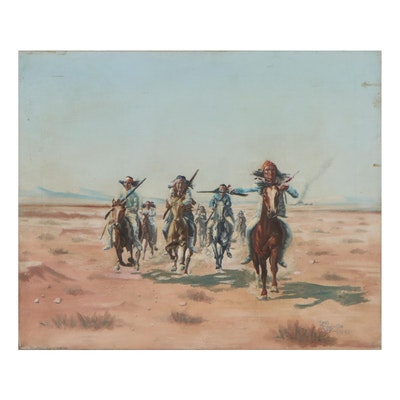 Thomas Cappiello Western Genre Oil Painting, 1965
