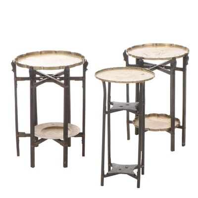 Chinese Engraved Brass Top Carved Folding Side Tables