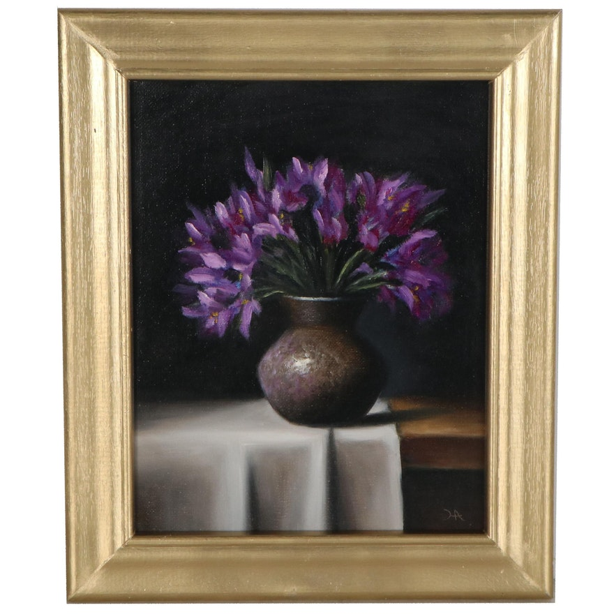 "Houra H. Alghizzi Oil Painting ""Purple Irises in a Vase,"" 2021"