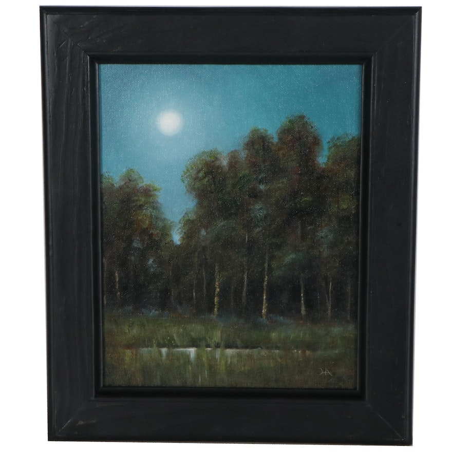 """Houra H. Alghizzi Landscape Oil Painting """"Forest Moonlight,"""" 2021"""