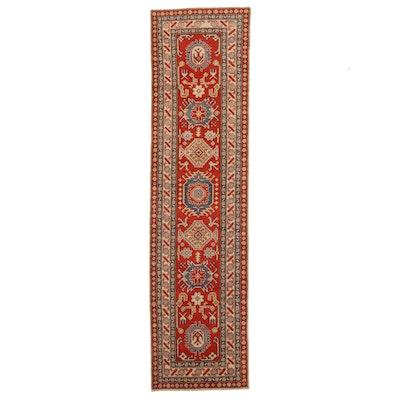 2'8 x 10'4 Hand-Knotted Afghan Kazak Carpet Runner