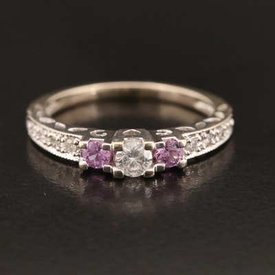 14K Diamond and Pink Sapphire Ring