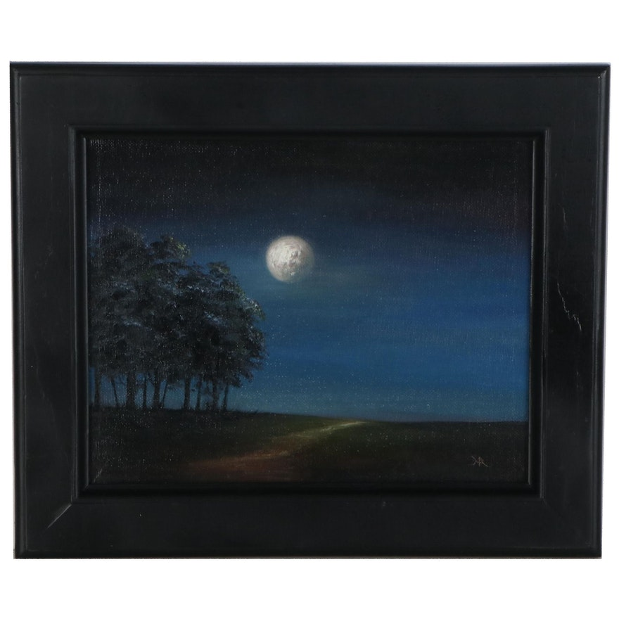 "Houra H. Alghizzi Landscape Oil Painting ""Summer Night Moon,"" 2021"