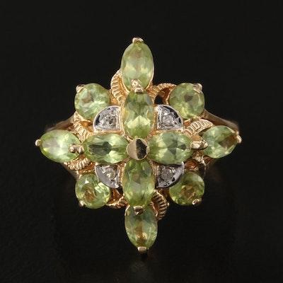 10K Peridot and Diamond Cluster Ring