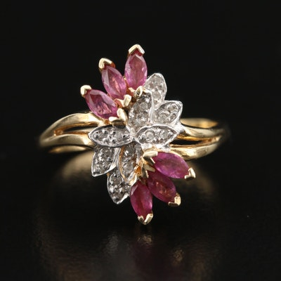 14K Ruby and Diamond Foliate Ring