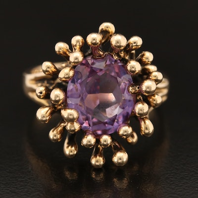 Vintage 14K Color-Change Sapphire Biomorphic Ring
