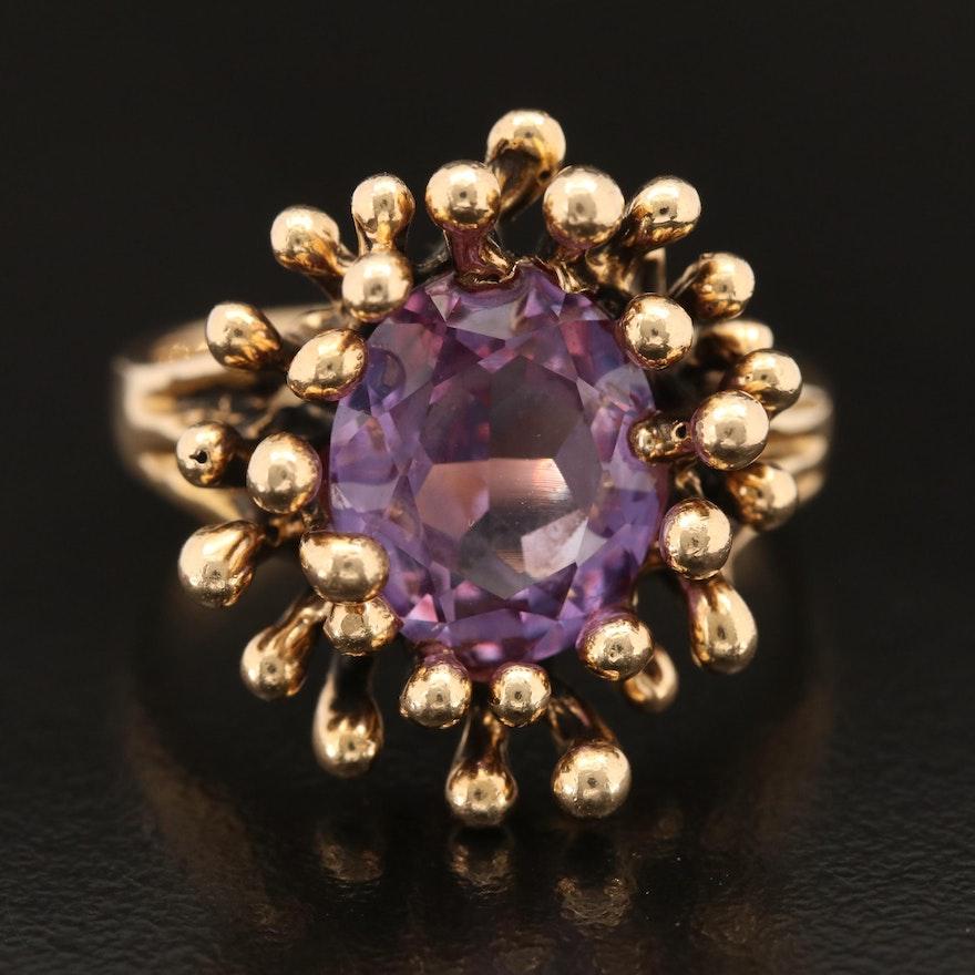 Vintage 14K Color-Change Sapphire Biomorphic Ring