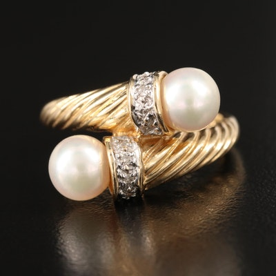 14K Pearl and Diamond Twisted Bypass Ring