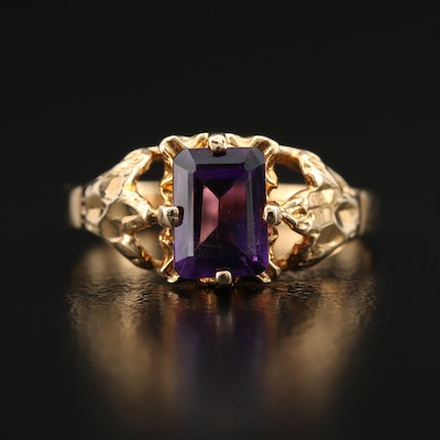 10K Amethyst Ring with Textured Details