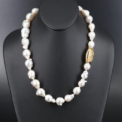 Italian 18K Baroque Pearl Necklace