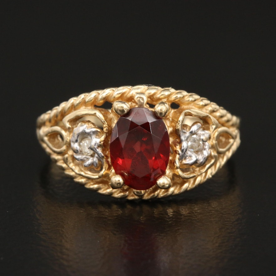 10K Garnet and Diamond Ring with Rope Style Edges