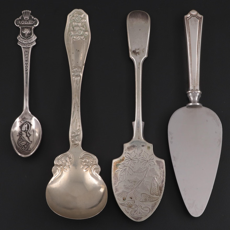Sterling Handled Cheese Server with Silver Plate Serving and Souvenir Spoons