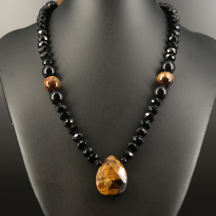 Faceted Tiger's Eye, Black Onyx and Art Glass Endless Necklace