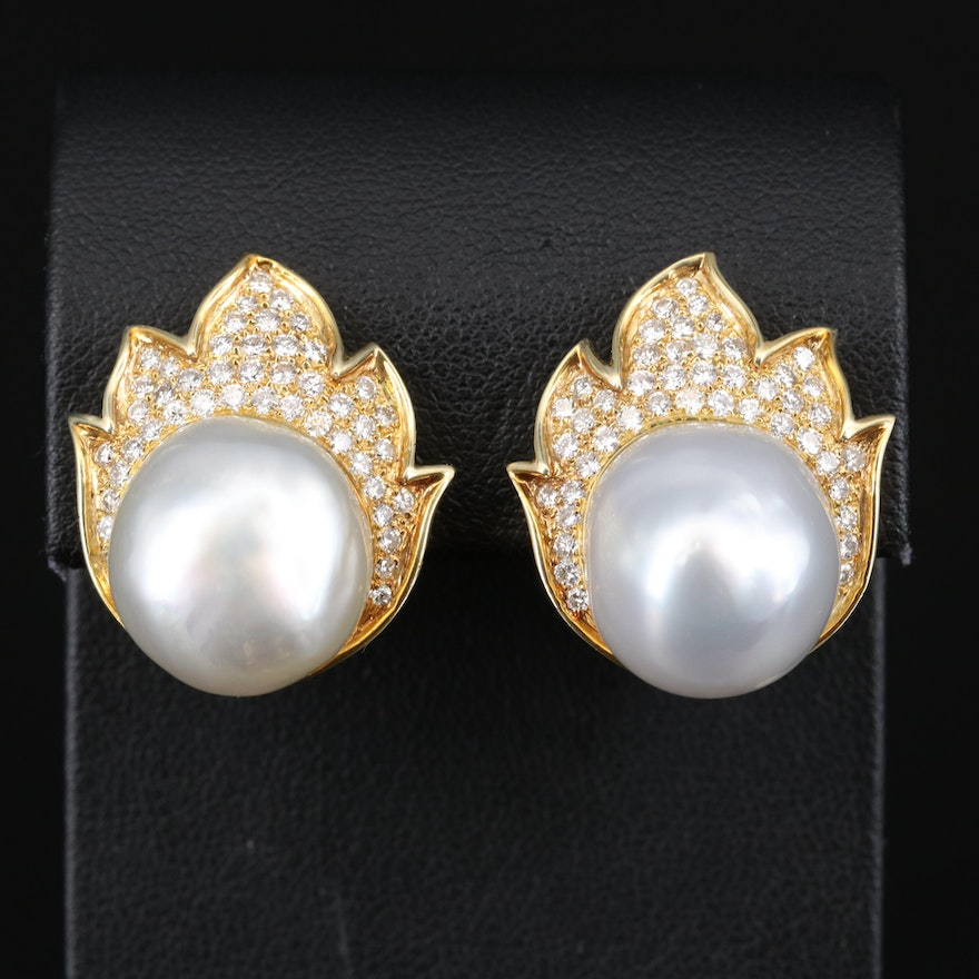 18K Pearl and 1.26 CTW Diamond Flame Motif Button Earrings