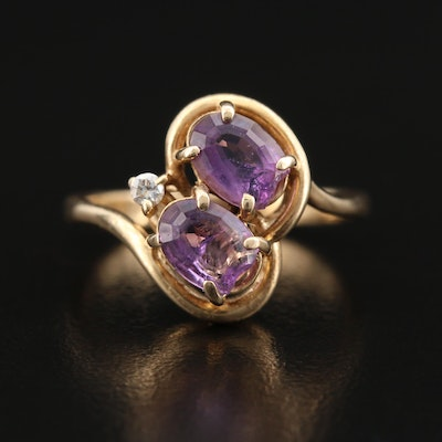 14K Amethyst and Diamond Swirl Ring