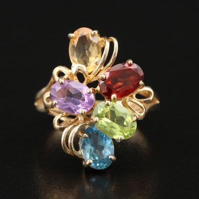 10K Gemstone Cluster Ring