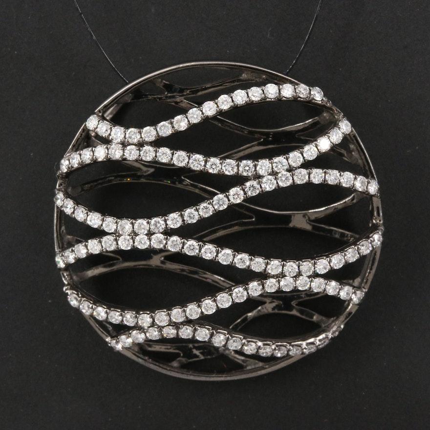 18K Diamond Wave Pattern Pendant