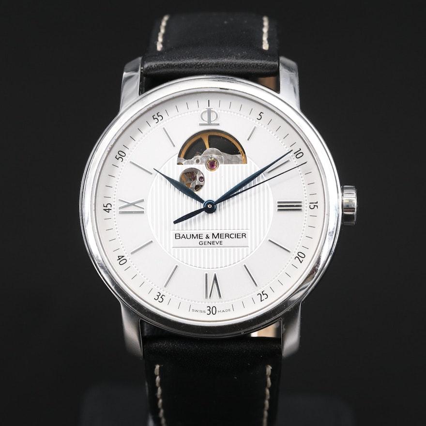 "Baume & Mercier ""Classima XL"" Open Balance Stainless Steel Wristwatch"