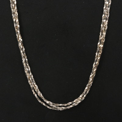 Sterling Triple Strand Chain Necklace