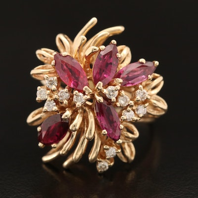 14K Ruby and Diamond Floral Ring