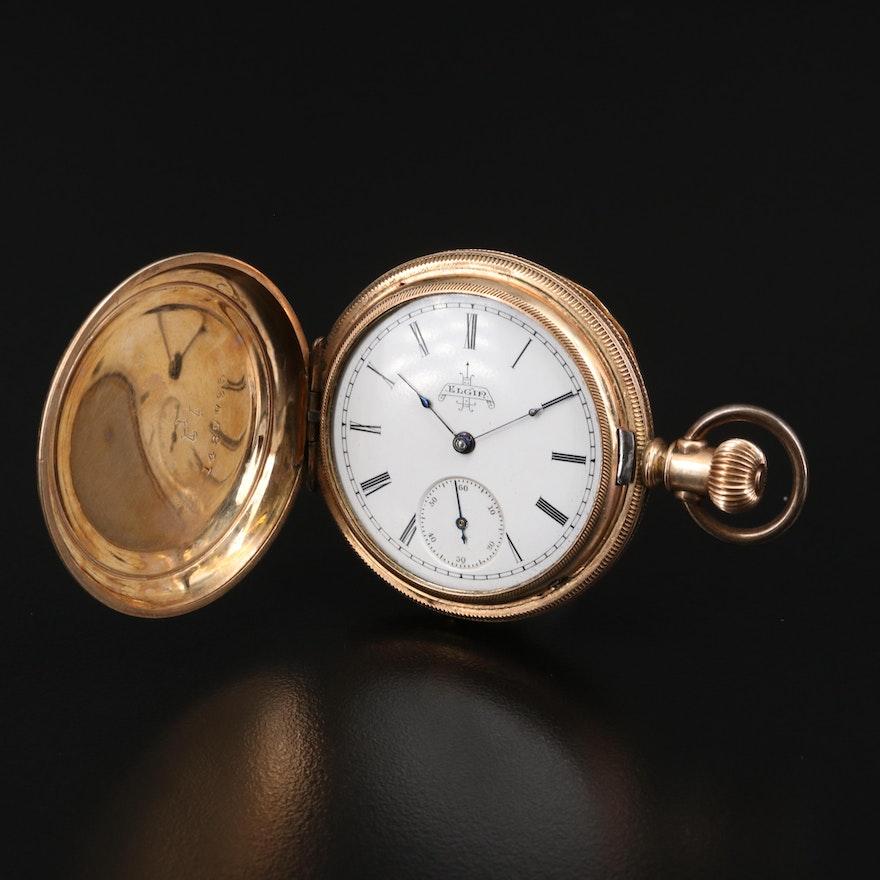 1891 Elgin 10K Gold Filled Hunting Case Pocket Watch