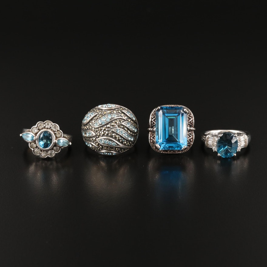 Sterling Rings Including London Blue Topaz, Swiss Blue Topaz and White Topaz