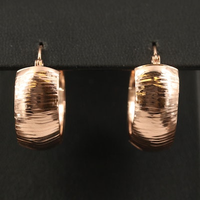 14K Rose Etched Wide Hoop Earrings