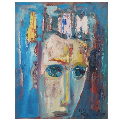 Murat Kaboulov Abstract Portrait Oil Painting, circa 2000