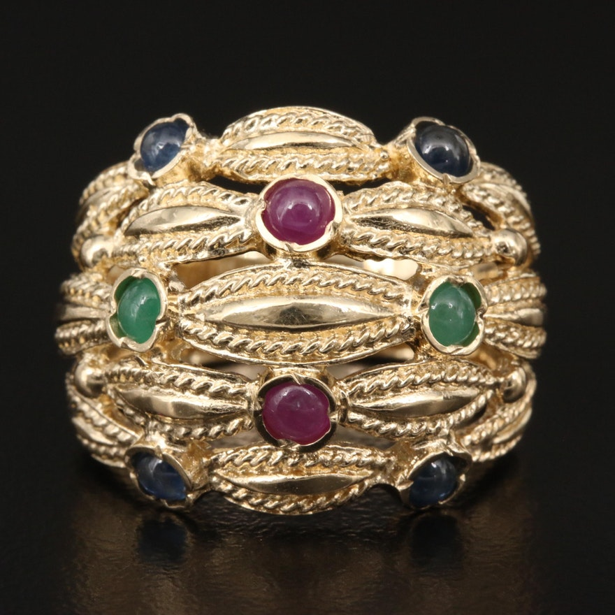 14K Ruby, Emerald and Sapphire Openwork Ring