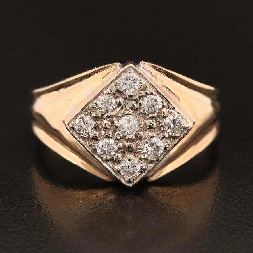 14K Diamond Geometric Ring