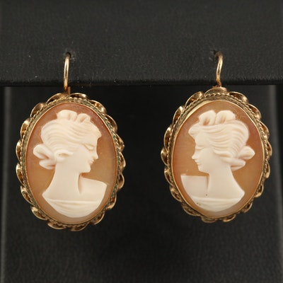 14K Shell Cameo Earrings