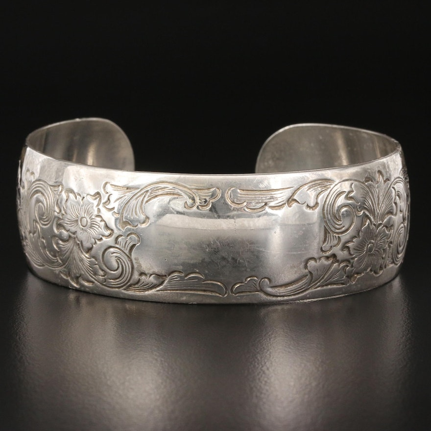 Vintage S. Kirk & Son Floral Engraved Cuff
