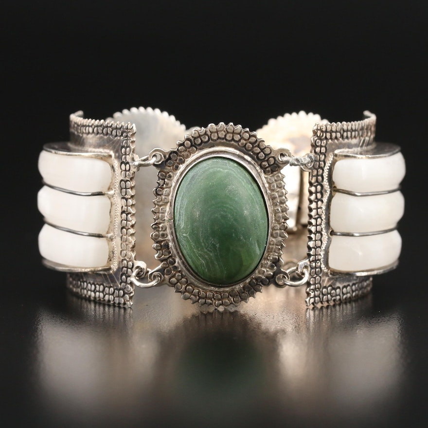 Mexican Sterling Calcite Panel Bracelet