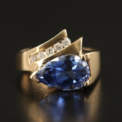 14K Sapphire and Diamond Ring with Euro Shank