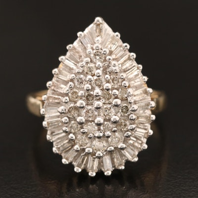 10K 1.07 CTW Diamond Cluster Ring