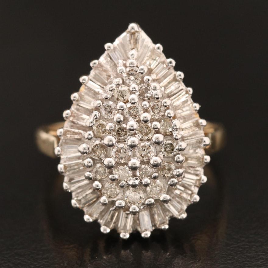 10K 1.07 CTW Diamond Cluster Ring