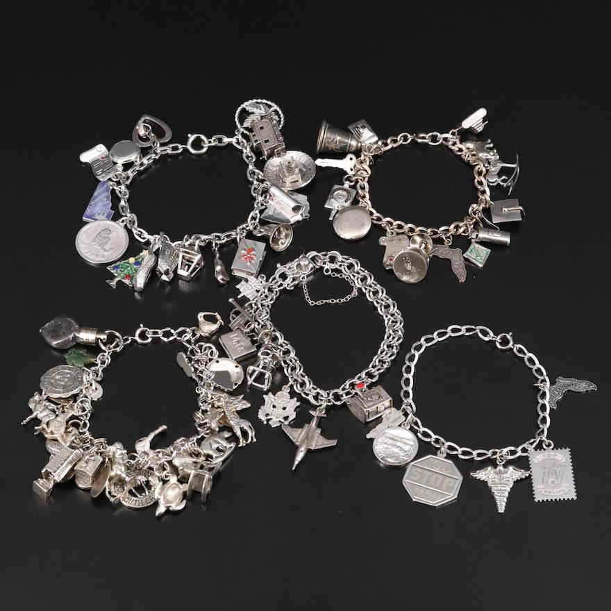Vintage Sterling Charm Bracelets Including Nephrite, Rhinestones and Enamel