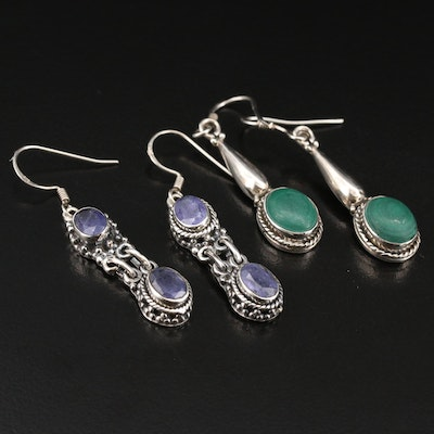 Sterling Tanzanite and Malachite Drop Earrings