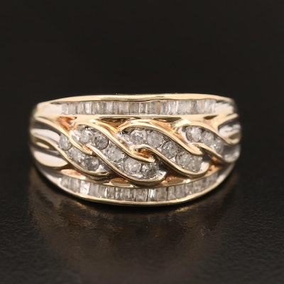 10K Diamond Twisted Center Ring