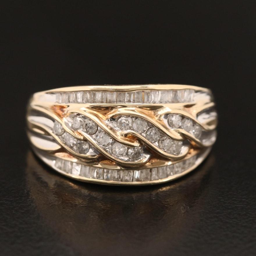 10K Diamond Twisted Center Ring
