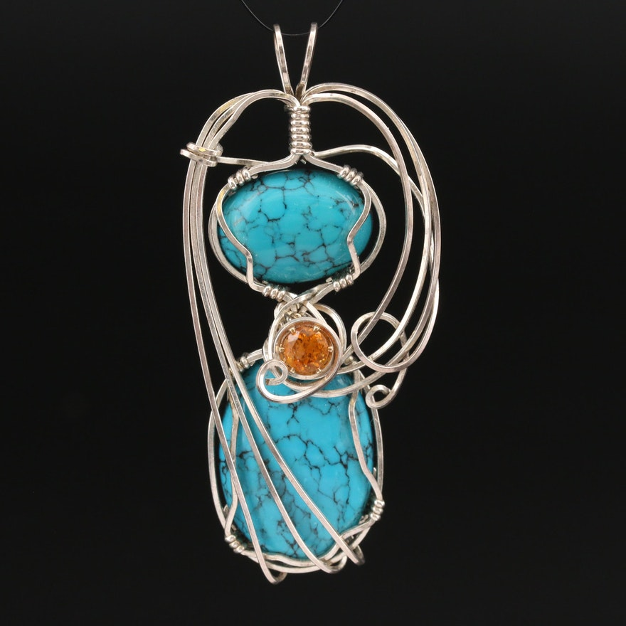 Sterling Faux Turquoise and Citrine Wire Wrapped Pendant