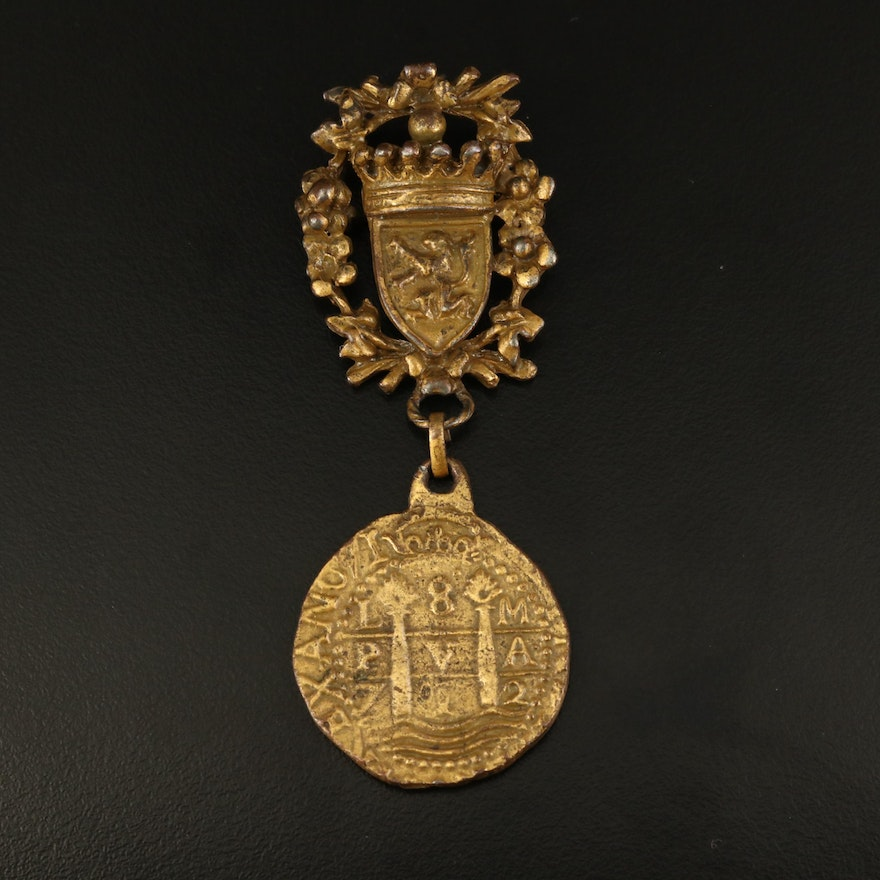 1960s Hattie Carnegie Coat of Arms Crest Brooch with Doubloon Coin Replica