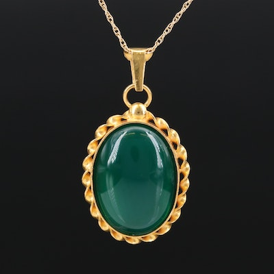 18K Chalcedony Pendant on 14K Chain
