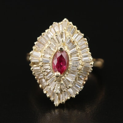 14K Ruby and 1.50 CTW Diamond Ballerina Ring with 18K Arthritic Shank