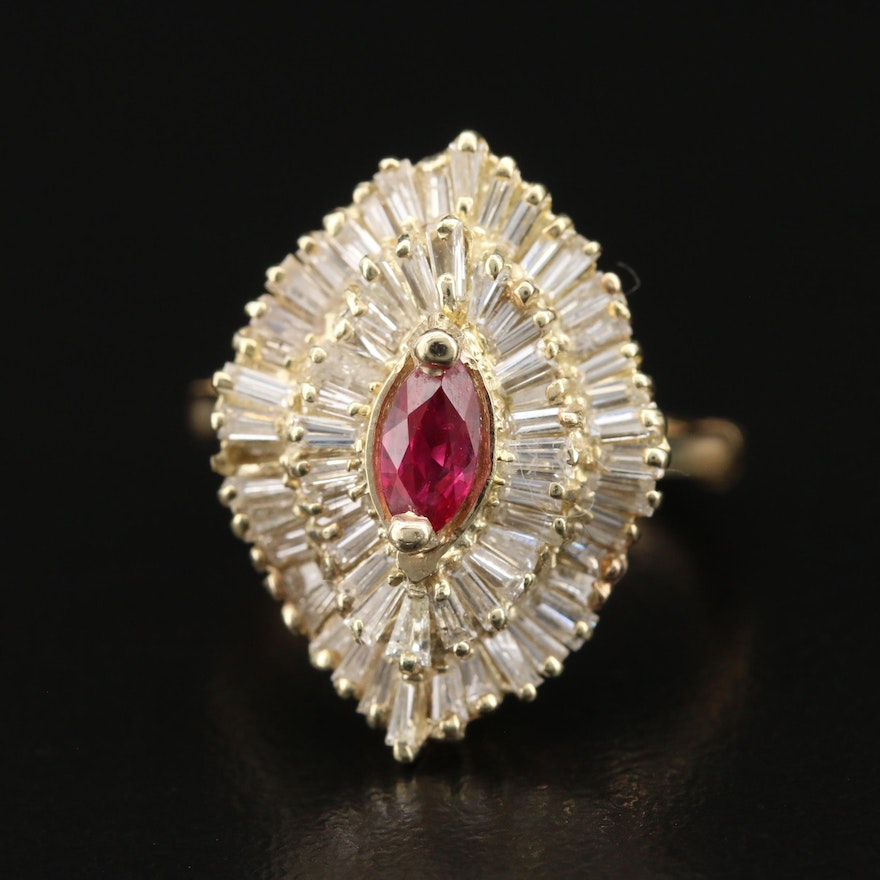 14K Ruby and 1.50 CTW Diamond Ballerina Ring with 18K Arthritic Shank